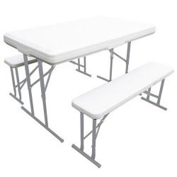 Conjunto plegable mesa + 2 bancos